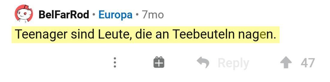 Ein Post vom Reddit User BelFarRoad, der über Teenager spricht.