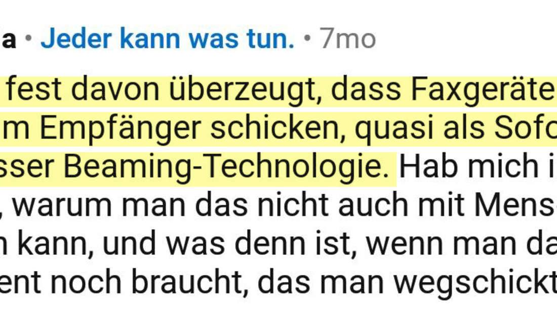 Ein Post vom Reddit User firala, der über Faxgeräte spricht.