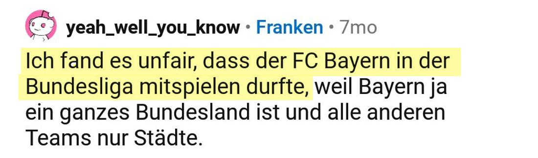 Ein Reddit Post vom User yeah_well_you_know, der über den FC Bayern spricht.