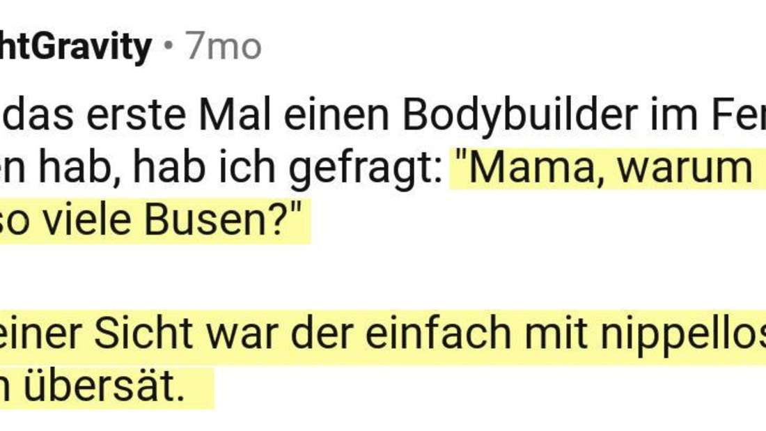 Ein Reddit Post vom User FightGravity, der über Bodybuilder spricht.