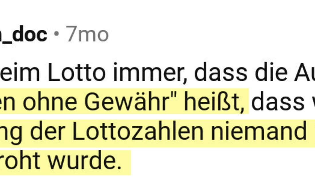 Ein Post vom Reddit User forbidden_doc, der über Lotto spricht.