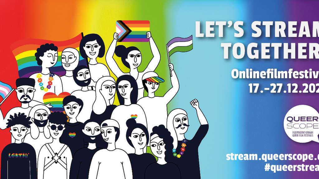 Das offizielle Plakat für das QueerScope Online-Filmfestival, welches verschiedene queere Filme online zeigt.