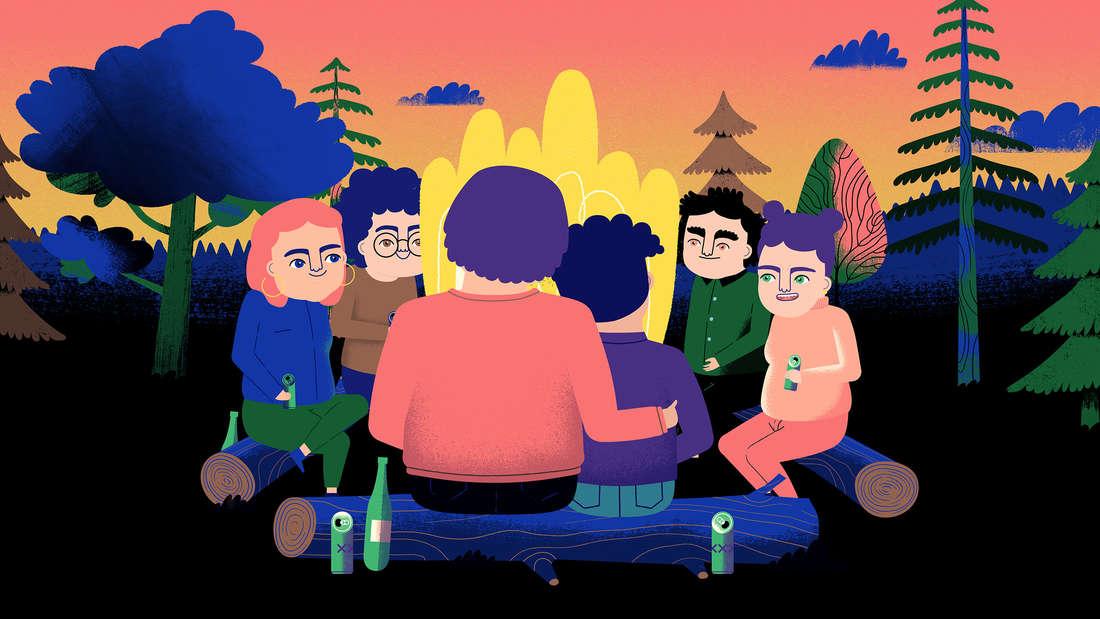 Im animierten Film sitzen einige Menschen um ein Lagerfeuer. Sie kuscheln und halten Flaschen in den Händen.
