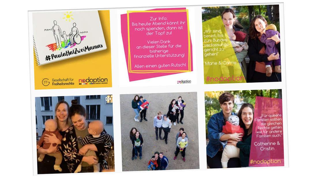 """Die Kampagne """"Nodoption"""" kämpft für die Gleichstellung von lesbischen Paaren mit Kindern."""