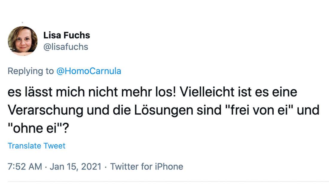 Ein Tweet der Userin Lisa Fuchs die glaubt das Rätsel wäre nur eine Verarsche