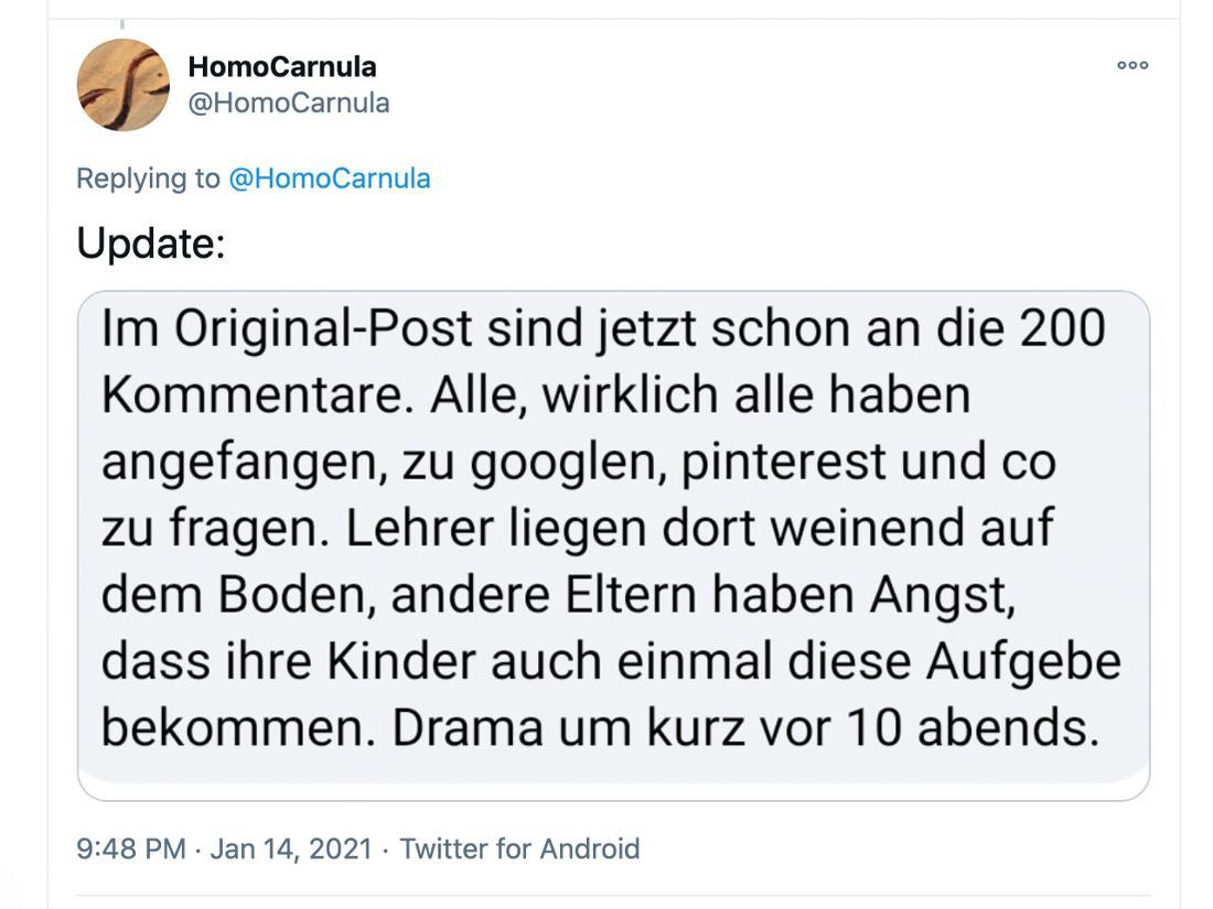 Ein Update zur Rätsel Situation von HomoCarnula