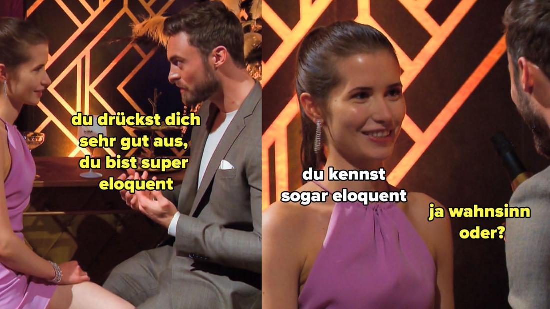 Niko sagt Esther, sie sei eloquent. Sie lobt ihn dafür, dass er dieses Wort kennt.