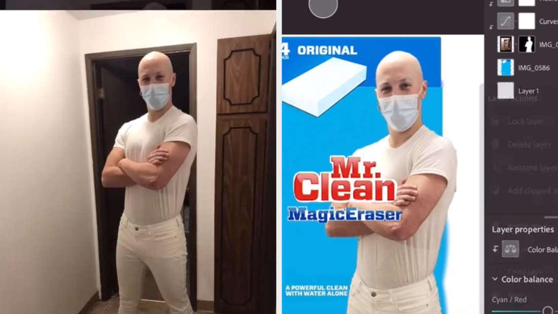 Ein Mann mit OP-Maske wurde per Photoshop zu Meister Proper gemacht.