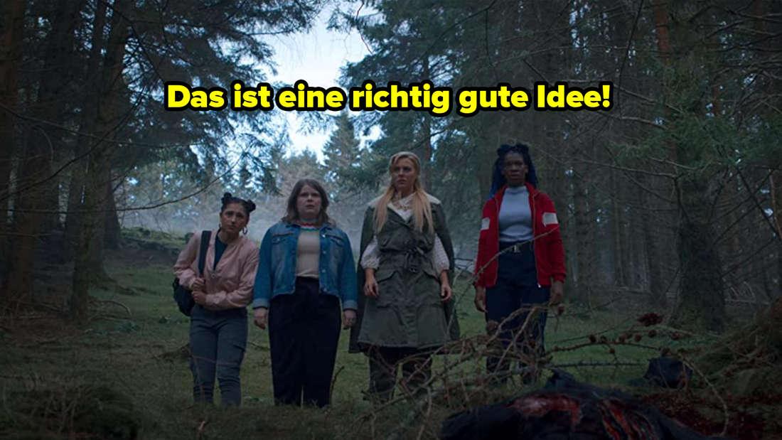 Vier der fünf Feen stehen im Wald und sehen besorgt aus. Über ihnen steht: Das ist eine richtig gute Idee.