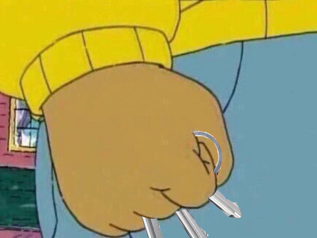 Ein Meme aus dem Comic Arthur, in dem er die Faust ballt – nur in diesem Fall mit einem Schlüsselbund in der Hand.