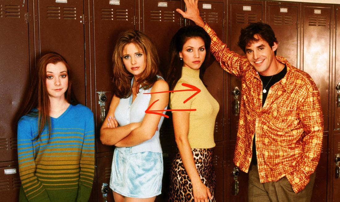 Der Buffy-Cast mit Alyson Hannigan, Sarah Michelle Gellar, Charisma Carpenter und Nicholas Brendon.