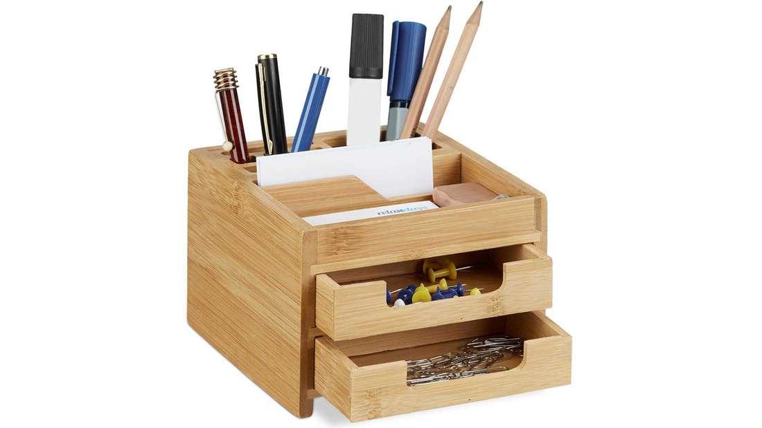 Schreibtisch Organizer Bambus mit zwei kleinen Schubladen (z.B. für Büroklammern) und Ablage für Stifte, Zettel und Co.