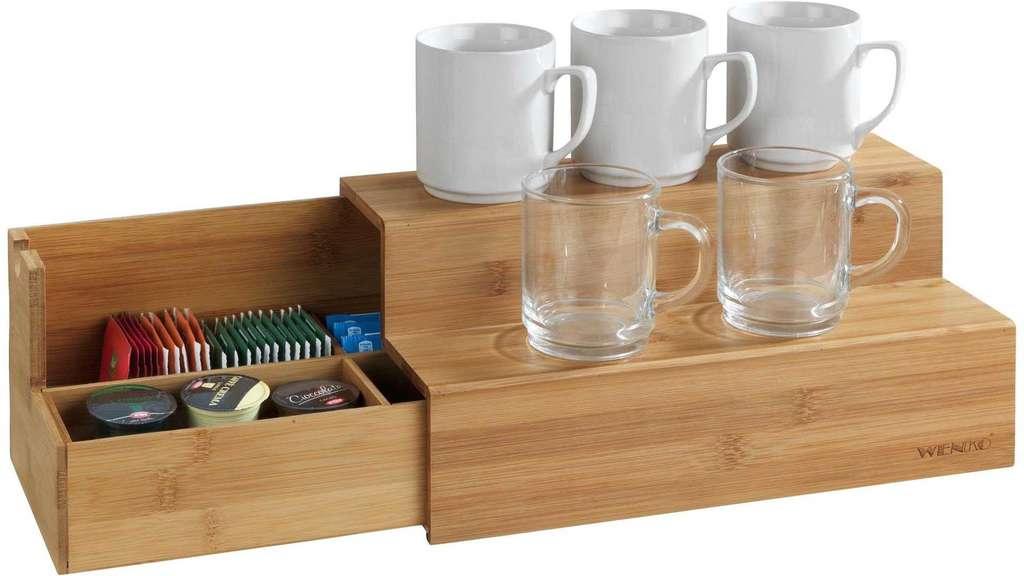 Zweistöckiger Bambus Organizer mit Schubach für Teebeutel, etc. und Ablagefläche für z.B. Tassen