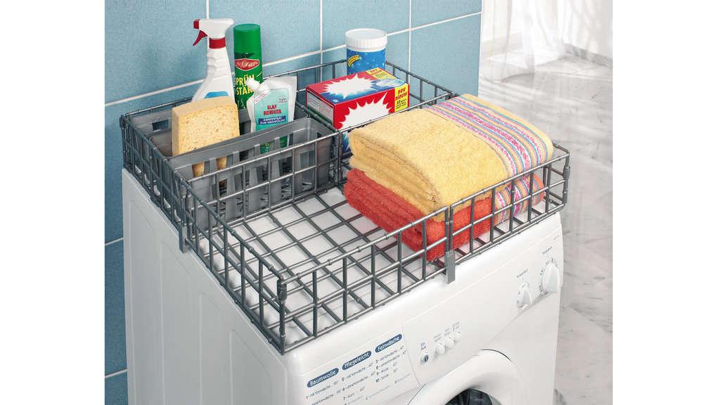 Waschmaschinen-Organizer mit Fächern für Waschmittel, Handtücher etc.