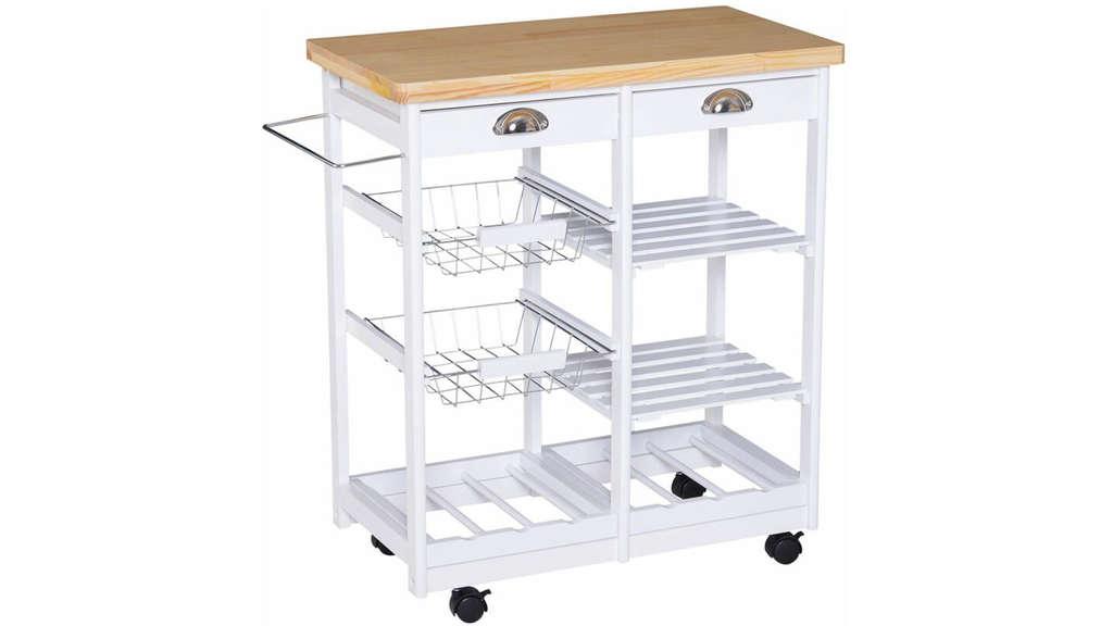 Weißer Küchenrollwagen mit Körben, Regalböden, Geschirrtuch-Halter, Schubladen und Arbeitsfläche aus Holz.