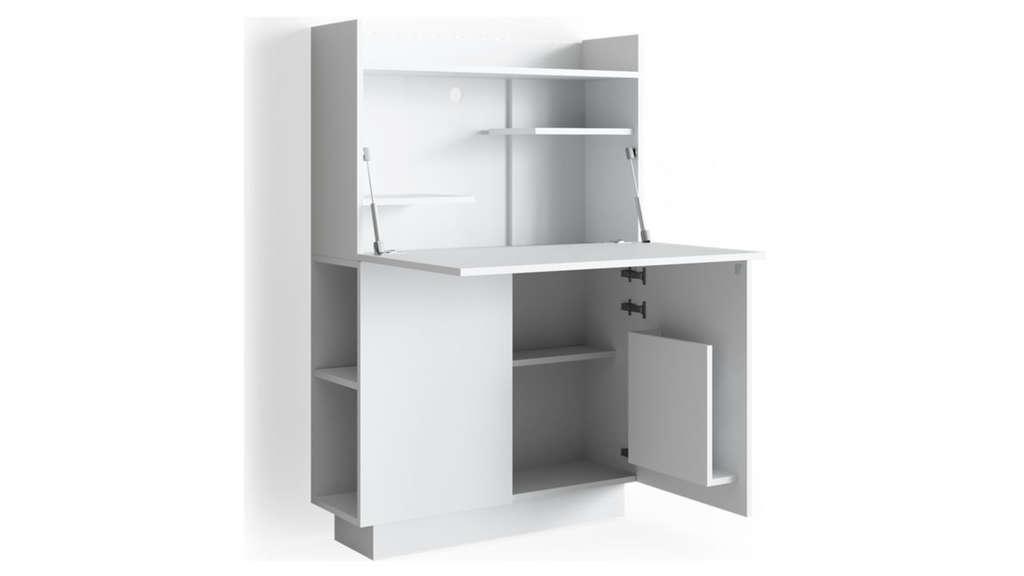 Weißer Schrank mit ausklappbarem Schreibtisch