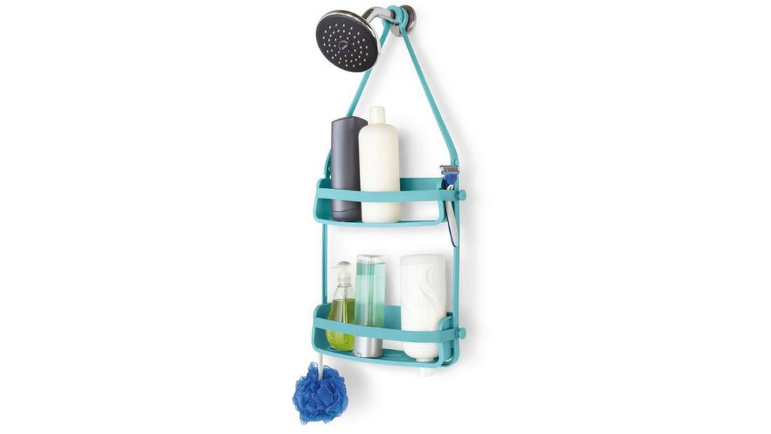Türkise, flexible Duschablage mit zwei Fächern zum Einhängen.