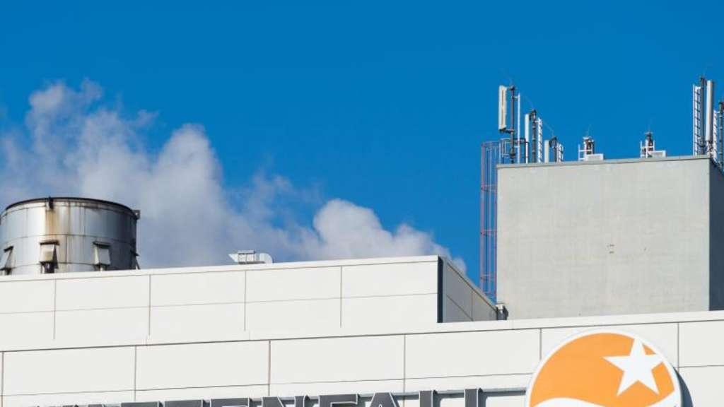Vattenfall-Logo auf einem Kraftwerk.