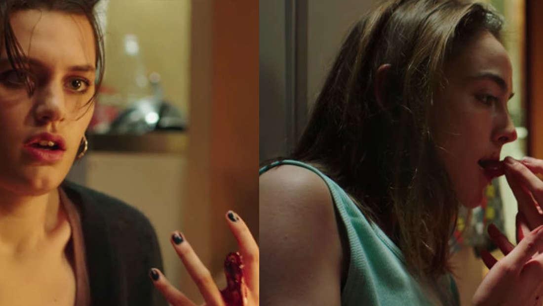 Alexia und ihr abgetrennter Finger; Justine, die daran saugt
