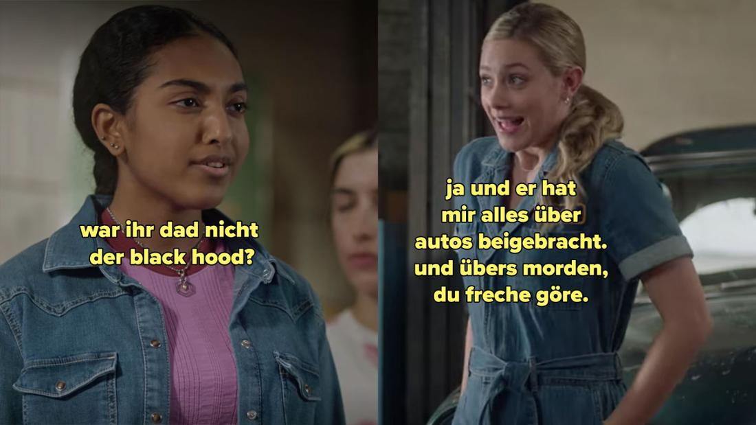 Eine Schülerin fragt Betty, ob ihr Vater nicht der Black Hood war. Worauf Betty antwortet, dass er ihr alles über Autos beigebracht hat.