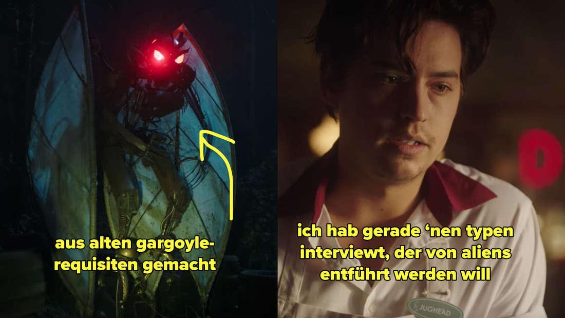 Ein Bild von einem Mothmen-Schrein und Jughead, der erklärt, sein Interviewpartner wolle von Aliens entführt werden.