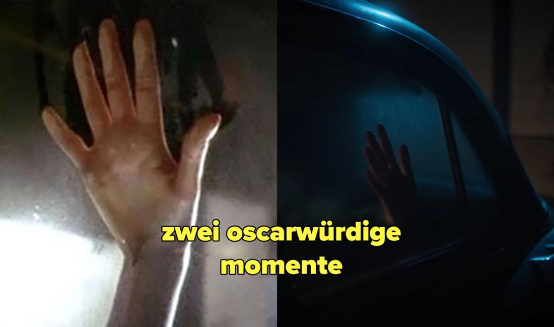 Zwei Bilder von Händen in Autos, die gegen eine beschlagene Scheibe drücken