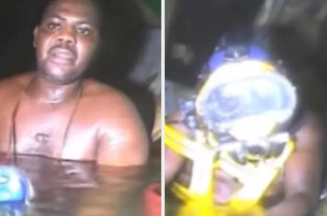 Ein Mann sitzt in einer Höhle unter Wasser fest und wird von Tauchern gerettet.