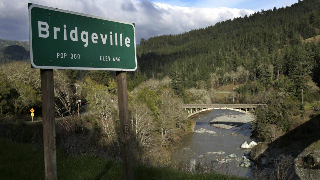 Das Ortsschild sowie die Brücke von Bridgeville.