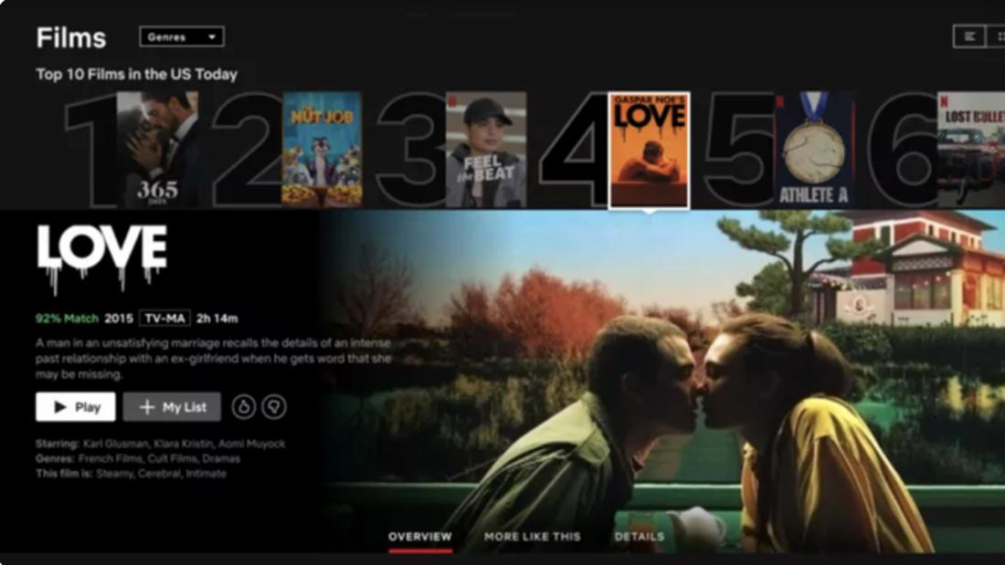 """Die Startseite von Netflix, auf der der Film """"Love"""" in den Top 10 landete."""