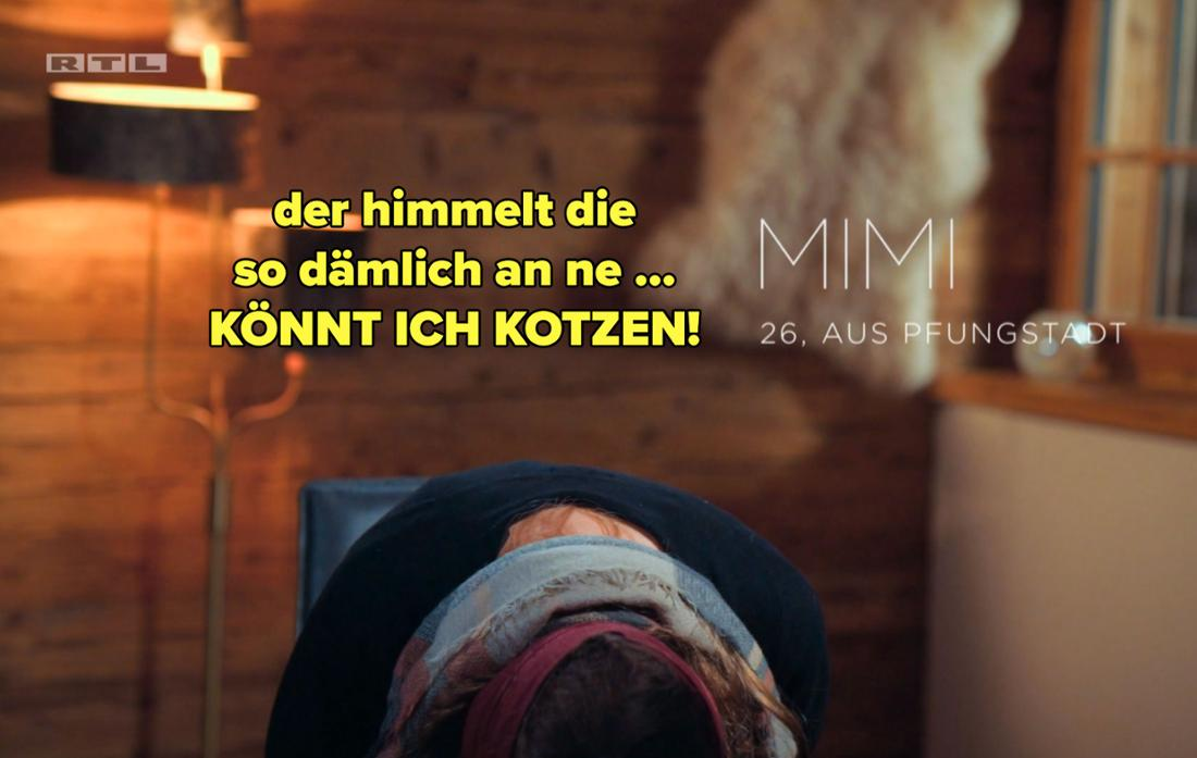 Mimi sagt, sie könne kotzen, weil Niko Michèle anhimmelt.