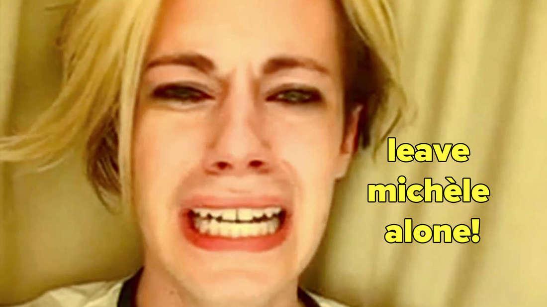 """Ein Screenshot des berühmten """"Leave Britney Alone""""-Videos, mit dem Statement: """"Leave Michèle alone."""""""