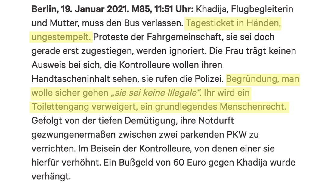 Ein Ausschnitt aus einer Petition gegen die BVG, die einen Angriff auf eine Frau durch die Kontrolleur*innen beschreibt