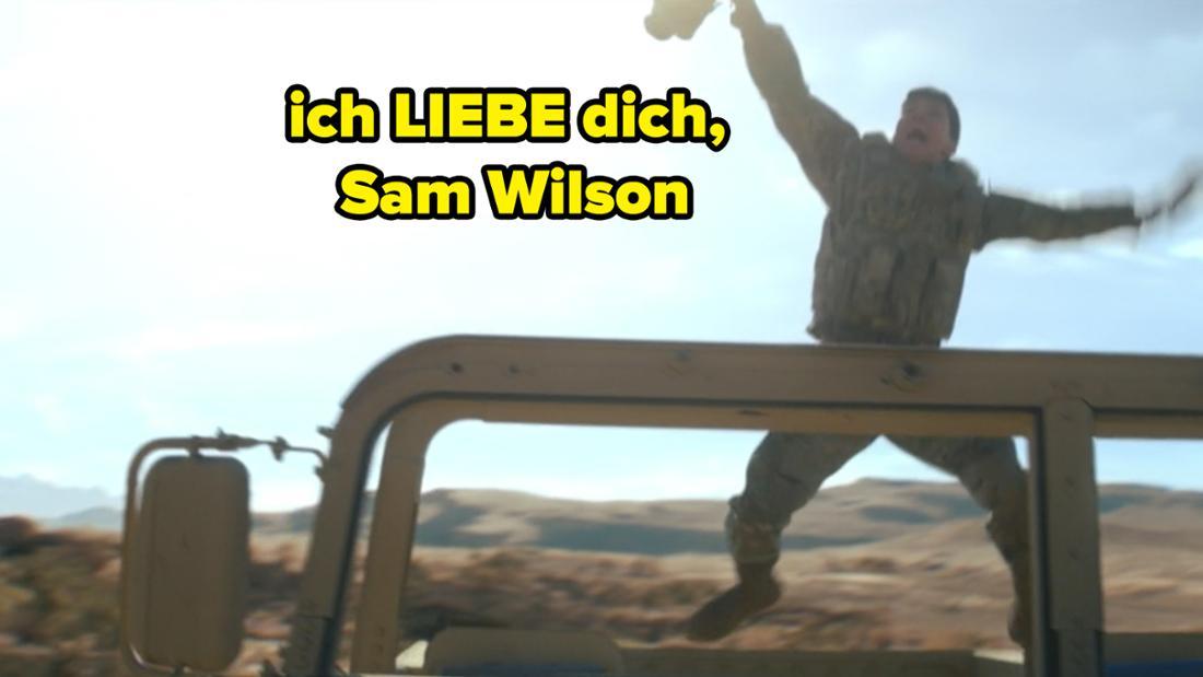 """Ein Mann springt vor Freude hoch. Auf dem Bild steht """"ich LIEBE dich, Sam Wilson"""""""