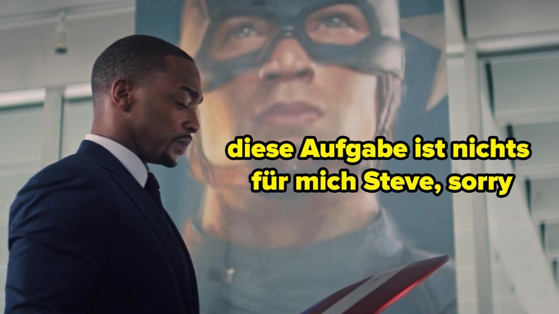 """Sam Wilson hält den Schild von Captain America in den Händen. Auf dem Bild steht """"diese Aufgabe ist nichts für mich Steve, sorry"""