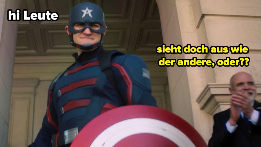 """Ein Mann, der Captain Americas Uniform trägt. Auf dem Bild steht """"Hi"""". Ein anderer Mann steht daneben. Bei ihm steht """"sieht doch aus wie der andere, oder??"""""""