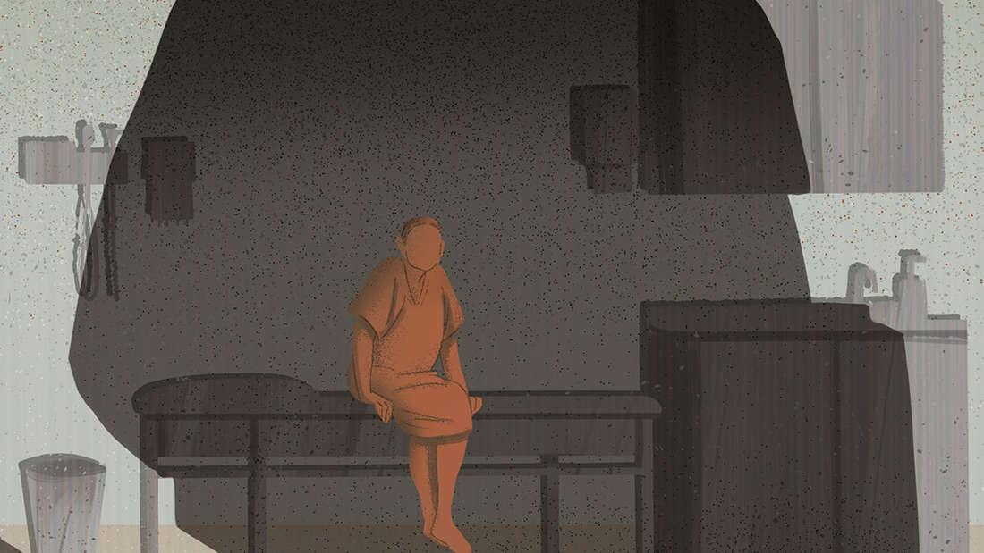 Patient sitzt im Arztzimmer wartet auf Behandlung Angst vor Missbrauch