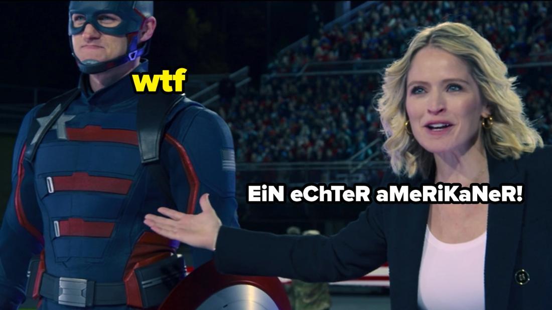 """Der neue Captain America in """"The Falcon and The Winter Soldier"""" und eine Frau, die ihn sehr überenthusiastisch vorstellt. Auf dem Bild steht """"Ein echter Amerikaner"""" und """"WTF""""."""