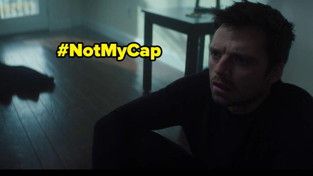 """Bucky, der in Marvels """"The Falcon and The Winter Soldier"""" auf dem Boden in seiner Wohnung sitzt. Auf dem Bild steht #NotMyCap"""