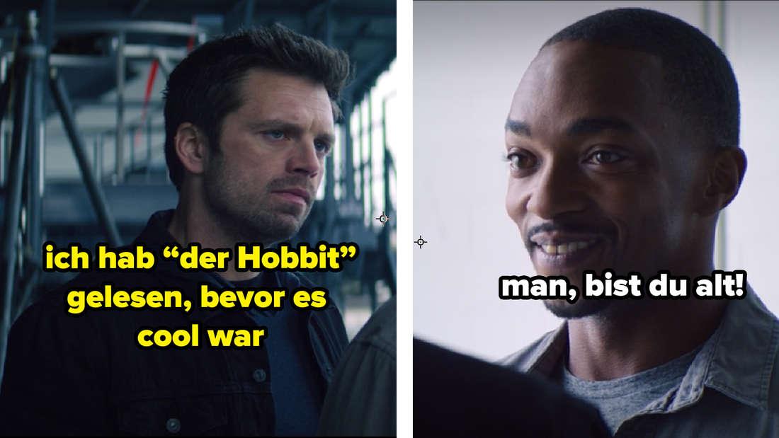 """Bucky, der in """"The Falcon and The Winter Soldier"""" Sam gegenüber steht. Auf dem Bild steht """"Ich hab 'der Hobbit' gelesen, bevor es cool war"""" und """"man, bist du alt""""."""