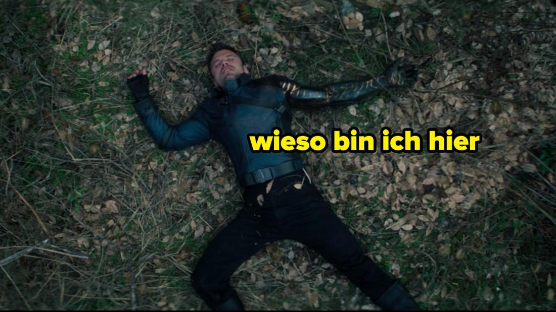 """Bucky, der in The Falcon and The Winter Soldier auf dem Boden liegt. Auf dem Bild steht """"Wieso bin ich hier""""."""