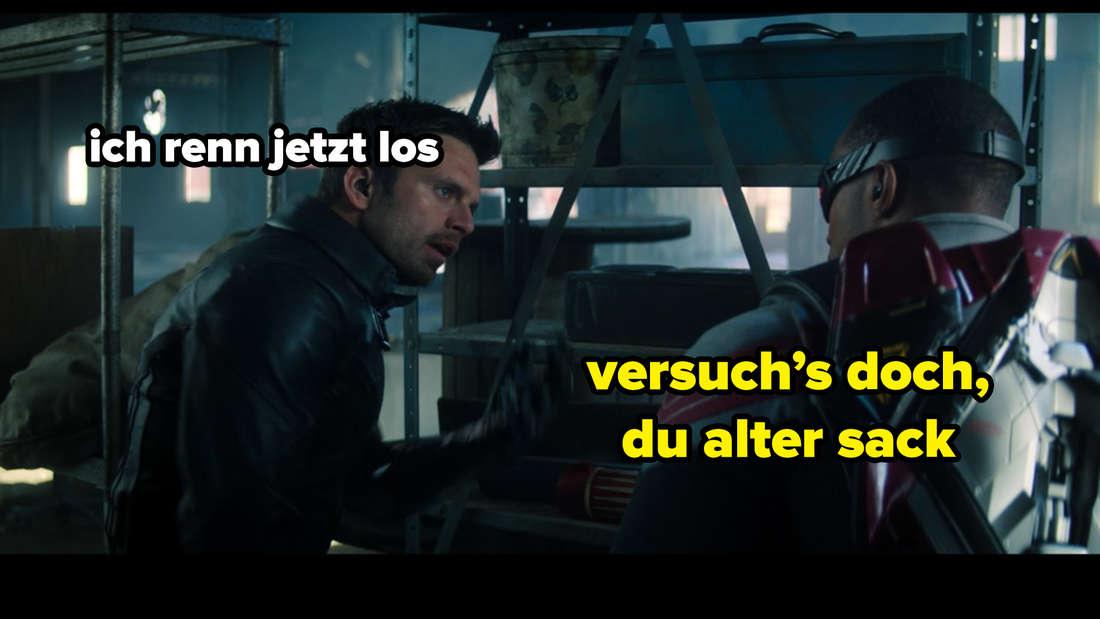 """Bucky und Sam, die sich in TThe Falcon and The Winter Soldier streiten. Auf dem Bild steht """"ich renn jetzt los"""" und """"versuch's doch, du alter sack""""."""