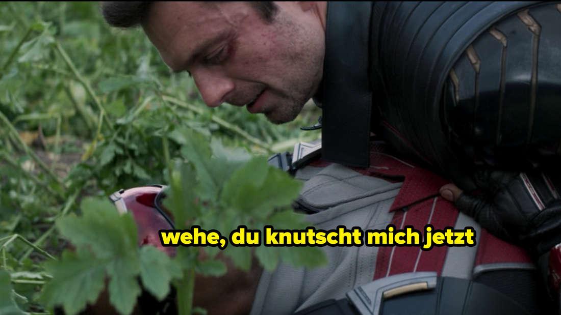 """Sam und Bucky, die in The Falcon and The Winter Soldier aufeinanderliegen. Auf dem Bild steht """"wehe, du knutscht mich jetzt."""""""