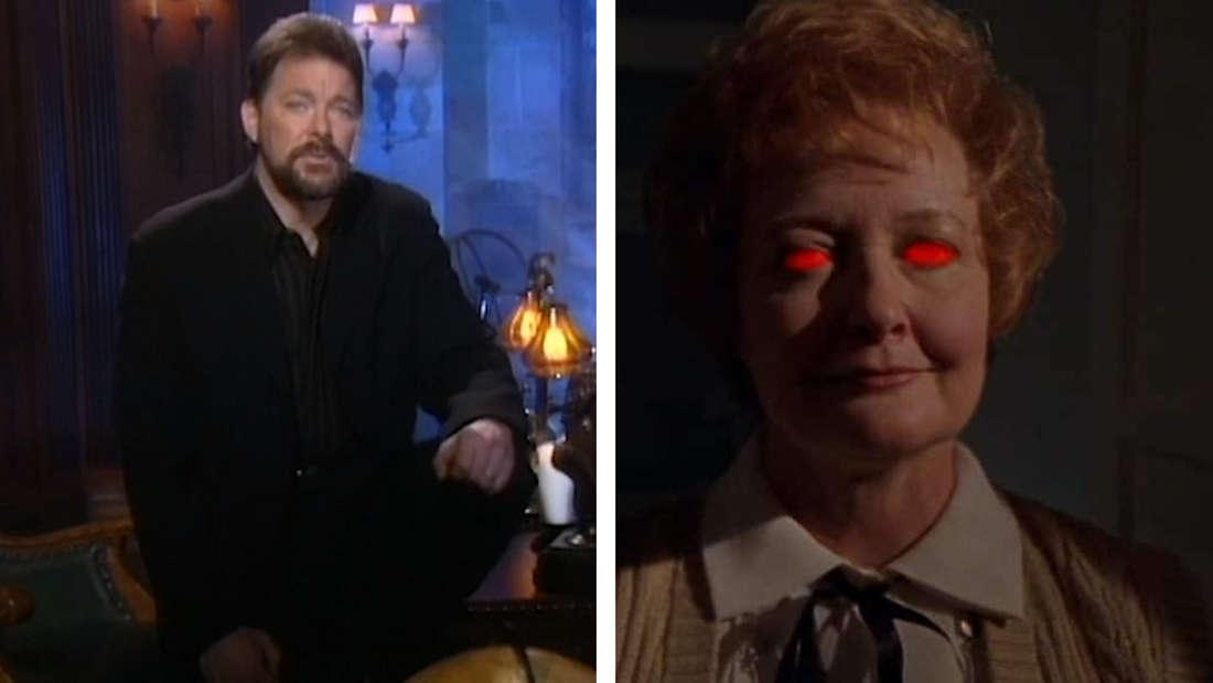 Jonathan Frakes und eine alte Dame mit rot glühenden Augen