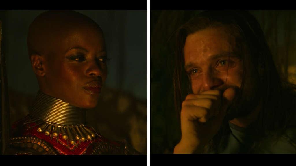 """Ayo lächelt Bucky Barnes in """"The Falcon and The Winter Soldier"""" an, der weint und sehr glücklich aussieht."""