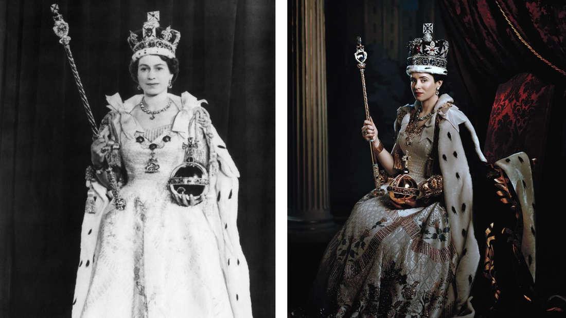 """Königin Elizabeth II. bei ihrer Krönung 1953 vs. ihre Darstellung in """"The Crown"""" im nachgestellten Krönungsgewand."""
