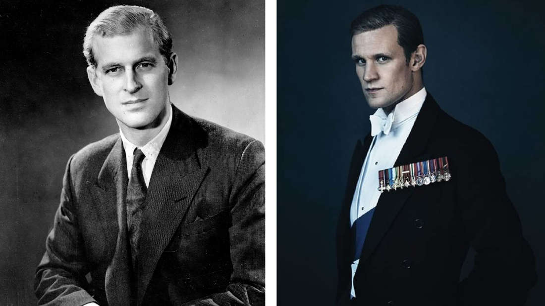 """Ein Portrait von Philip Mountbatten aus dem Jahr 1947 vs. seine Darstellung im selben Alter in """"The Crown""""."""
