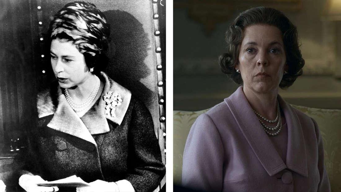 Die Queen in den 60er Jahren im Vergleich zu ihrer Darstellung durch Olivia Colman.