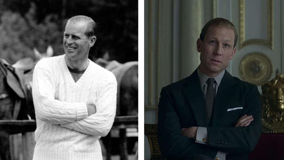 """Prinz Philip bei einem Polo-Spiel. vs. seine Darstellung in """"The Crown""""."""