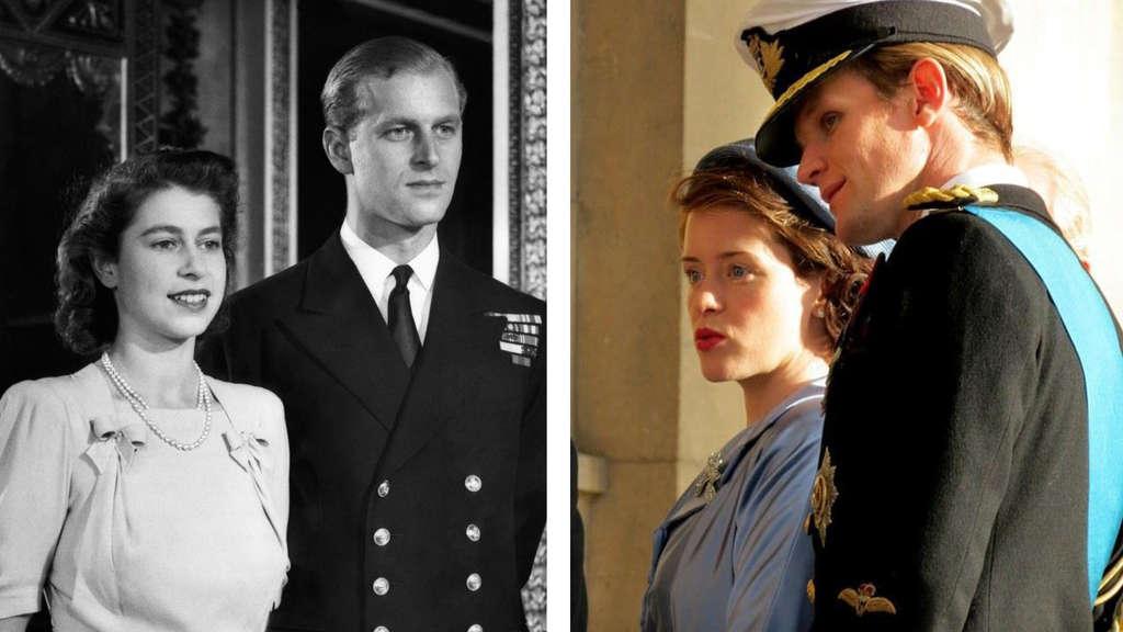 """Elizabeth und Philip als junges Paar im Vergleich zu ihren Darstellern in """"The Crown"""""""