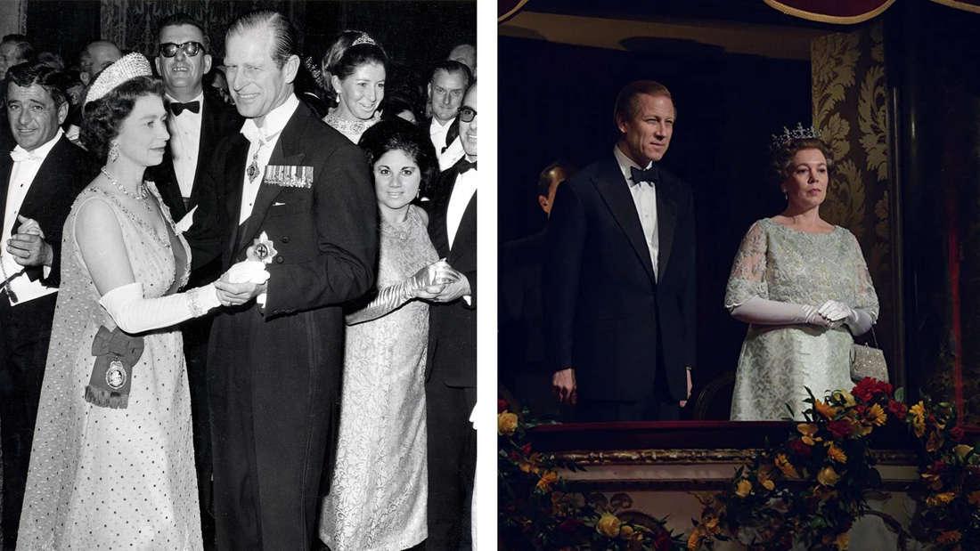 """Queen Elizabeth und Prinz Philip im mittleren Alter vs. ihre Darsteller in """"The Crown""""."""